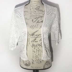 JM Collection White Knitted Cardigan
